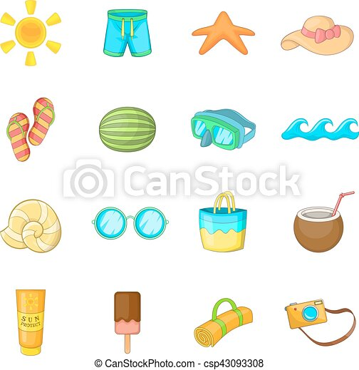 Summer items icons set, cartoon style. Summer items icons ...