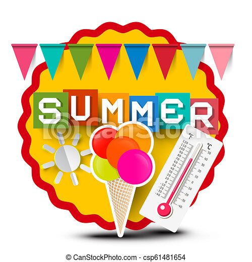 Summer Label with Colorful Flags, Ice Cream, Thermometer and Paper Cut Sun - csp61481654