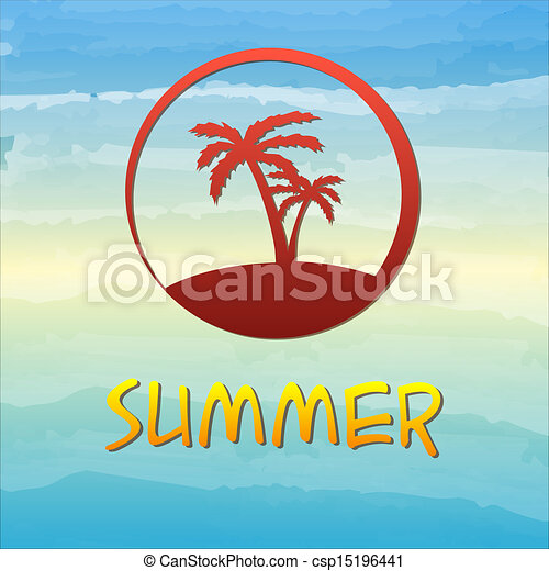 summer label with palms in circle - csp15196441