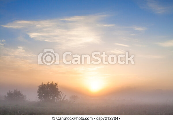 summer landscape with sunrise and fog - csp72127847