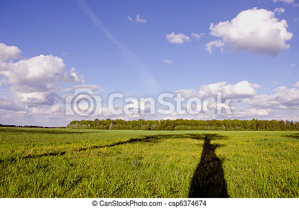 summer landscape with tree shadow - csp6374674