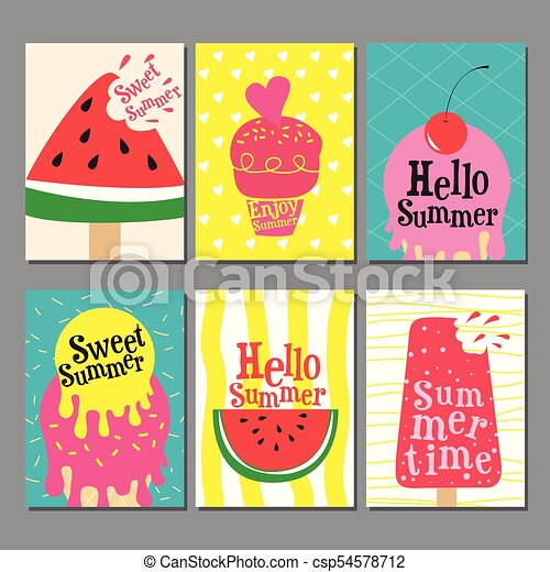 summer layout design greeting card cover book banner template