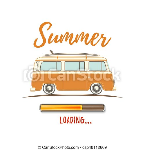 Clip Art Vector Of Summer Loading Vintage Retro Camper Van