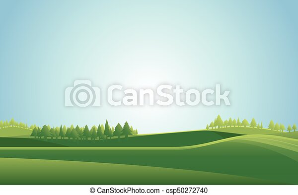 Summer meadow landscape  background. Vector illustration. - csp50272740