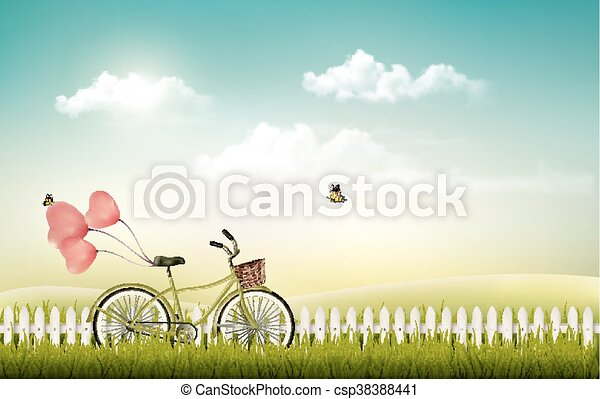 Summer meadow landscape with a bicycle - csp38388441