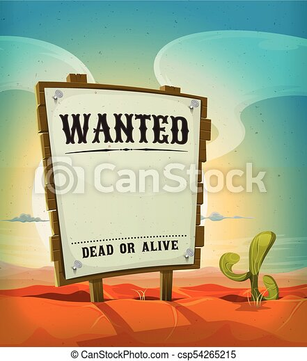 summer mexican desert with wanted wood sign illustration of a rh canstockphoto com Morning Sunrise Clip Art Ocean Clip Art