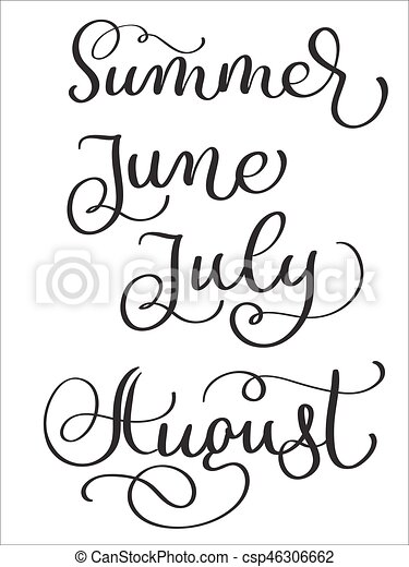 Summer Months June July August Words On White Background Hand Drawn