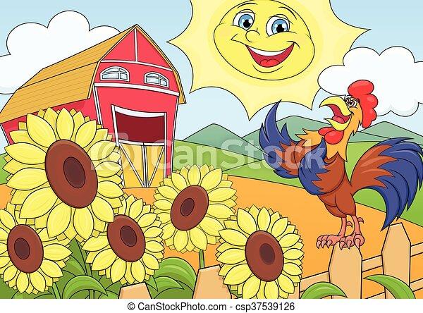 Summer morning on the farm - csp37539126