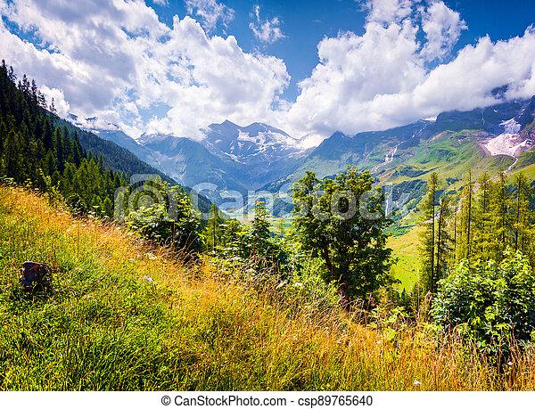 Summer morning view of Grossglockner mountain range from Grossglockner High Alpine Road. - csp89765640