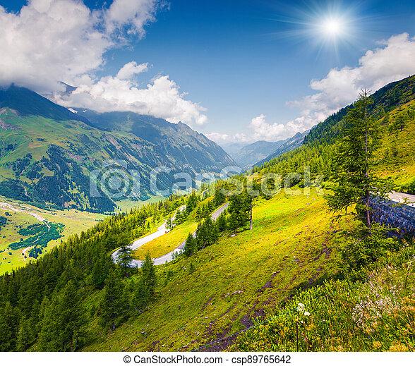 Summer morning view of Grossglockner mountain range from Grossglockner High Alpine Road - csp89765642