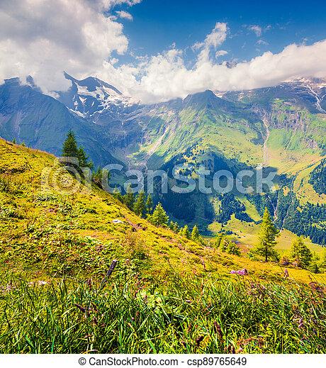 Summer morning view of Grossglockner mountain range from Grossglockner High Alpine Road. - csp89765649