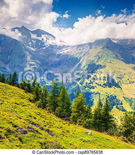 Summer morning view of Grossglockner mountain range from Grossglockner High Alpine Road. - csp89765638