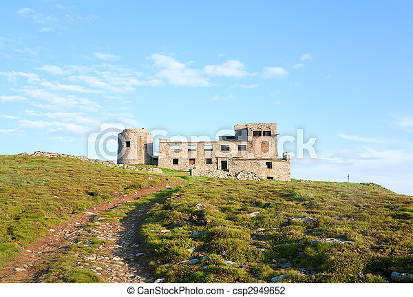 Summer mountain view with observatory ruins on mountain top - csp2949652