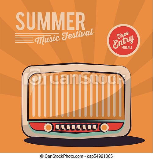 summer music festival radio vintage poster invitation - csp54921065