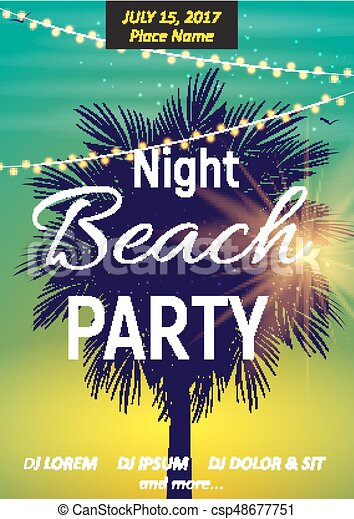 Summer Night Beach Party Poster  Tropical Natural Background with Palm   Vector Illustration