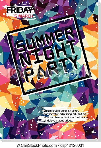 Summer Night Beach Party Poster Flyer Template Vectors  Search Clip