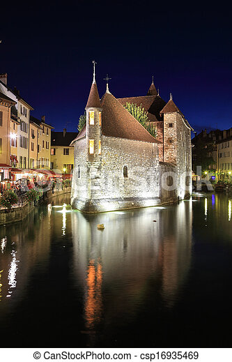 Summer night in the charming medieval town - csp16935469