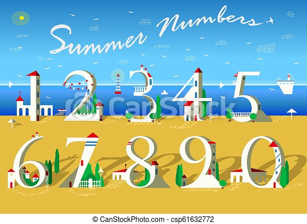 Summer Numbers. White houses on the beach - csp61632772