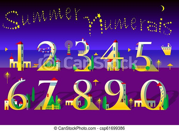 Summer Numbers. Yellow houses on the night beach - csp61699386
