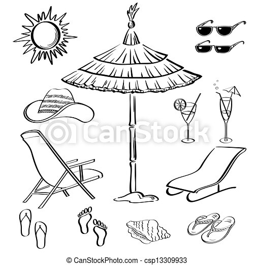 Summer objects outline stock illustration