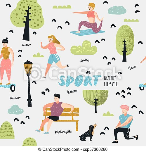 summer outdoor sports activities seamless pattern active people in the park background running summer outdoor backgrounds e26 summer