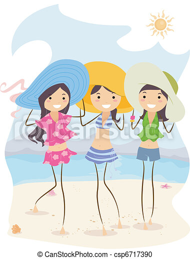 Illustration Of Girls Wearing Different Summer Outfits Vector