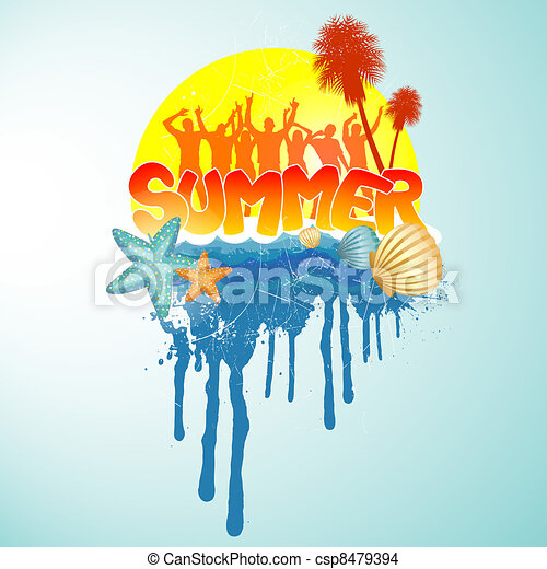 Summer Party Design Vector Illustration Of Dancing People Eps