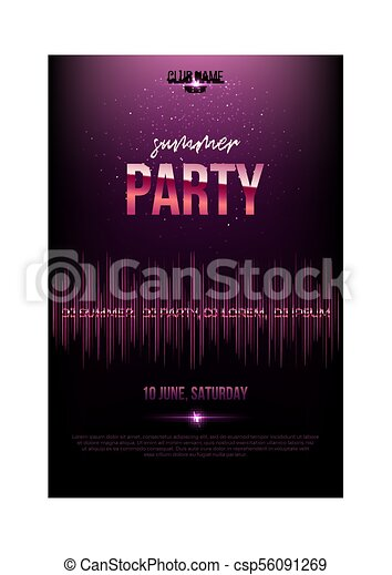 summer party flyer template pink metal words and soundwave on dark