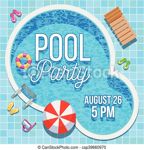 Summer party invitation with swimming pool vector template summer party invitation with swimming pool vector template stopboris Images
