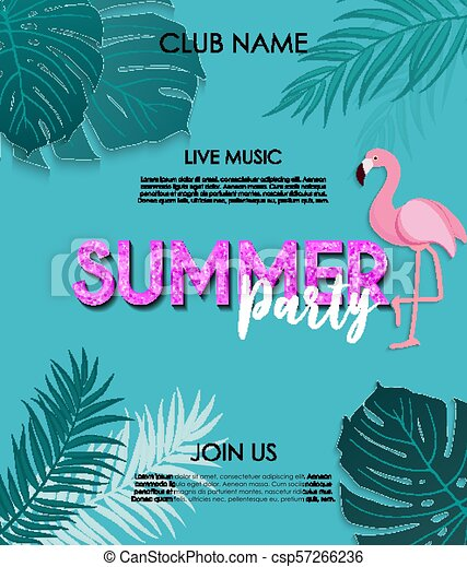 Summer party poster background  Vector Illustration