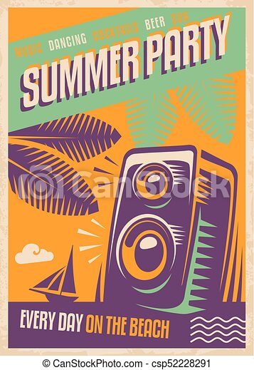 Summer party retro poster design beach party poster template with summer party retro poster design beach party poster template with loud speaker palm tree leaves and tropical beach landscape maxwellsz