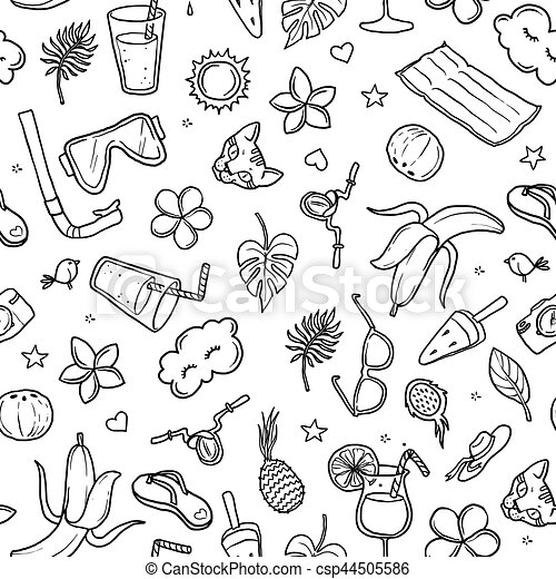 summer pattern, hand-drawn contour on a white background for children coloring. For adult anti stress coloring book. - csp44505586