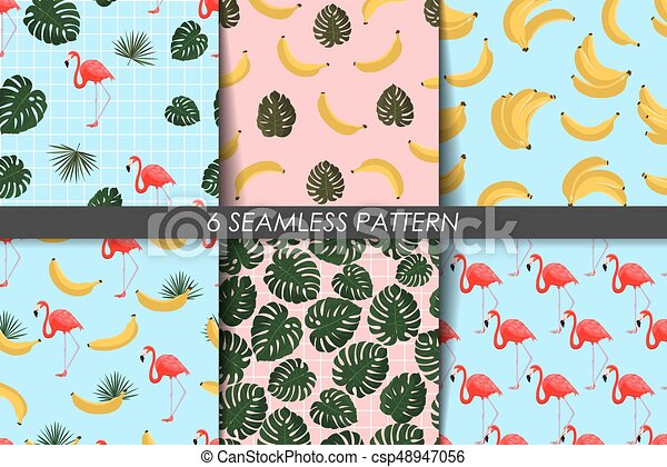 Summer Patterns Collection Seamless Texture Vector Trendy Backgrounds Fashion Wallpaper Set With Banana Flamingo Greenery Leaves