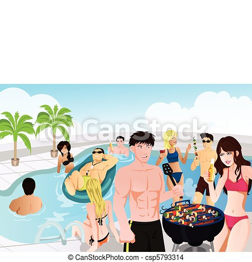 A Vector Illustration Of Young People Having Pool And Barbeque Party