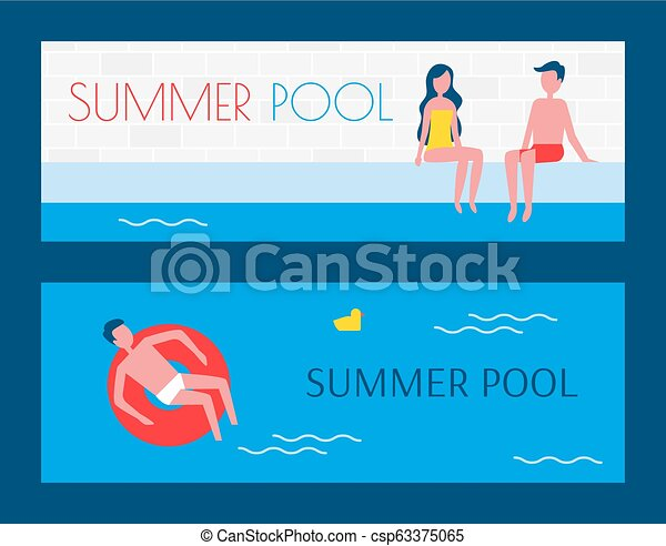 Summer Pool Set of Posters Vector Illustration