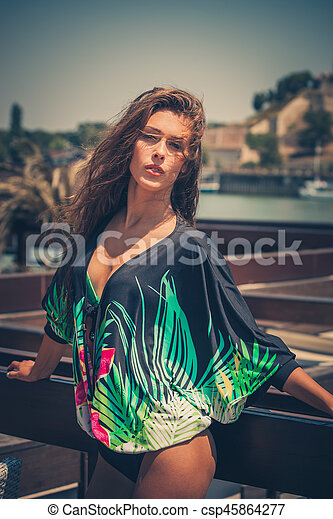 summer portrait of city woman in tunic outdoor - csp45864277