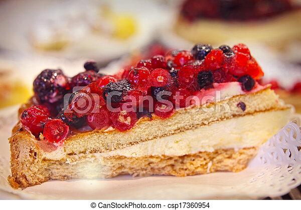 summer raspberry-blueberry tart, food close up - csp17360954