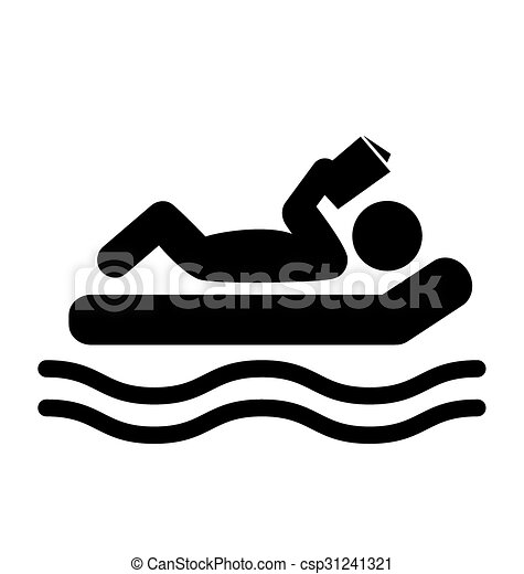 Summer Relax Swim Pictogram Flat People Read Book Icon