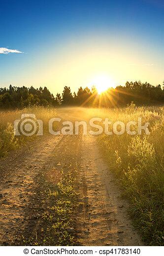 summer rural landscape with sunrise - csp41783140