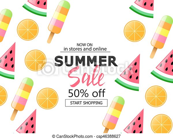 Summer Sale Background With Colorful Ice Cream Slice Watermelon And Orange Vector Illustration