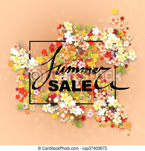 summer sale banner with paper flowers and black frame vector illustration