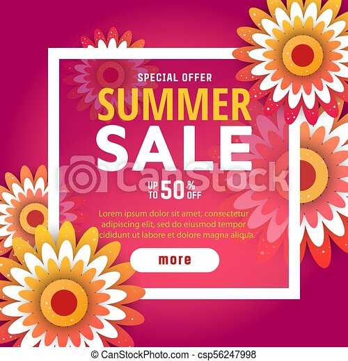Summer sale design with flowers summer sale design layout for summer sale design with flowers csp56247998 mightylinksfo