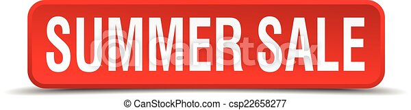 Summer sale red 3d square button isolated on white - csp22658277