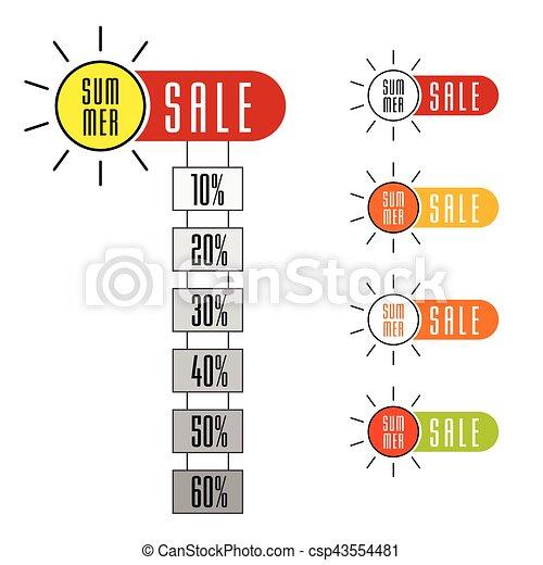 summer sale sign set with sun design illustration in colorful