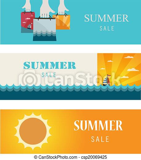 Summer Sale . Vintage banners/cards. - csp20069425