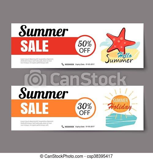 Summer sale voucher template.discount coupon. banner hand... vector ...