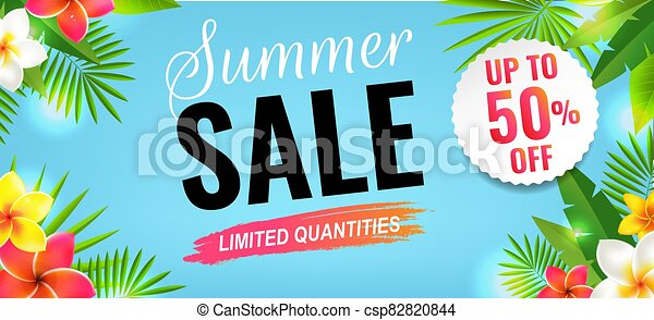 Summer Sale With Flowers Border - csp82820844