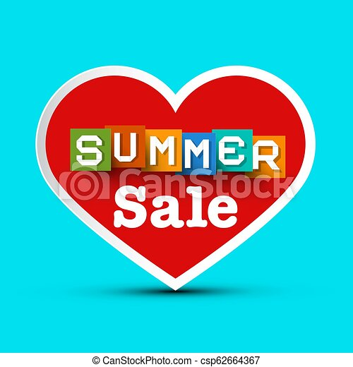 Summer Sale with Red Heart - Vector - csp62664367