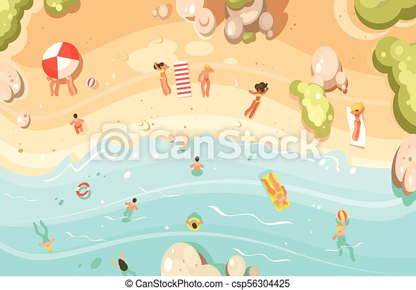 Summer sandy beach with vacationers people swim and vector summer sandy beach with vacationers csp56304425 voltagebd Choice Image