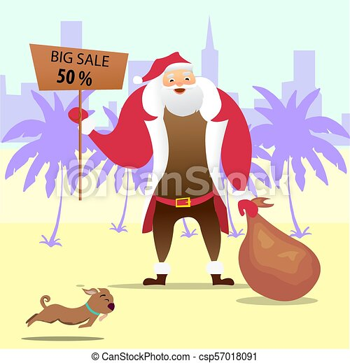 Christmas In July Santa Clipart.Summer Santa Claus On The Beach Vector Cute Cartoon Character Christmas In July Sale Marketing Template Eps 10 Vector
